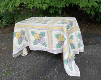 Antique Quilt Primitive Bedding  Bedspread Quilt Primitive Antiques Rustic Blanket French Country Wedding Rustic Cabin Picnic Tablecloth