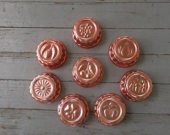 8 Vintage Copper Molds Gelatin Molds Mid Century Copper Salad Molds Copper Cooking Utensil Set of 5