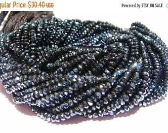 50% Off Sale Sparkling AAA Mystic Black Spinel faceted rondelles 14 inch strand Size 3.5mm approx