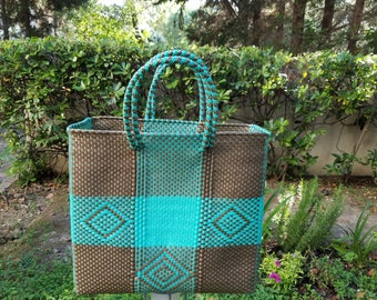Stylish Beach Bag, Weaved Recycled Plastic Bag, Mexican Bags, Geometric Pattern Bags