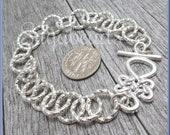 2x Bright Silver Rolo Chain Charm Bracelet, Blank Charm Bracelet, Celtic Knot Toggle Bracelet, 7.5 inch Charm Bracelet, PS254