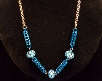 Turquoise Lampwork Bead and Chain Maille Necklace