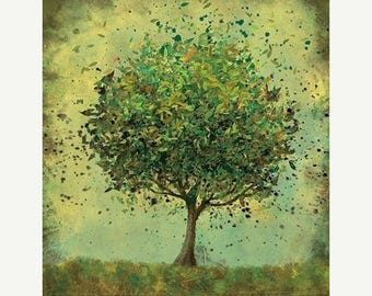 50% Off Summer Sale - Green Tree Art - Welcome Change (rustic green) - 8x10 Illustration Print
