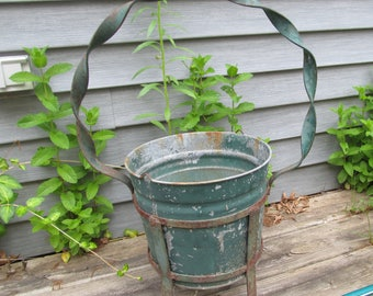 Vintage Garden Plant Pot Heavy Metal Galvanized with Handle, Frame, Legs Rustic Shabby Cottage