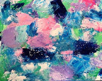 Ocean Sparkle Art Acrylic Painting Abstract Style, Painted on Watercolour Paper 26cm x 36cm, Mixed Media