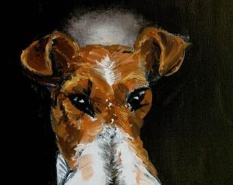 20 % off storewide fox terrier - angel,fox terrier print, dog, dog art, dog print,modern dog art,  print