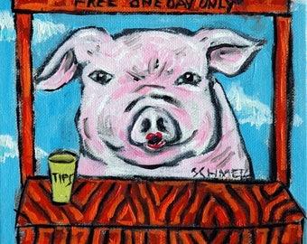 20 % off storewide PIG art- PRINT , pig poster, modern folk art,  PRINT, kissing booth, pig print, gift