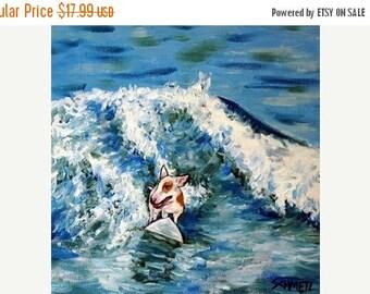 20 % off storewide Bull Terrier Surfing Dog Art Print