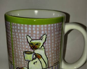 20% off Siamese cat at the cafe coffee shop 11 oz art mug cup gift artowkr