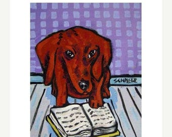 dachshund art - Dachshund Reading Dog Art Print   modern abstract folk pop art AMERICAN ART gift - dachshund gifts