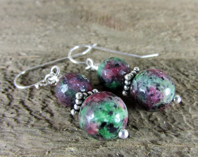 Ruby Zoisite Earrings, Gemstone & Sterling Dangle
