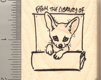 From the Library of... Fennec Fox Rubber Stamp G11010 Wood Mounted