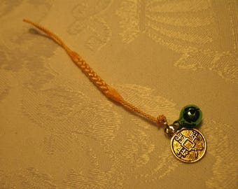 Peace and Safety In and Out of the Home Good Luck Charm with Small Green Bell and Yellow Cord