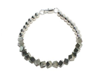 Bohemian silver and pyrite beaded stackable bracelet