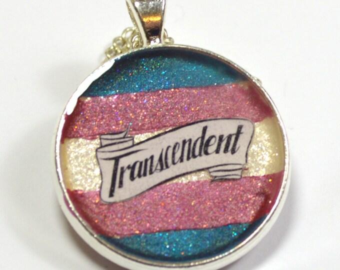 Trans Pride Transcendent Queer Glitter Resin Pendant