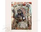 Gypsy Cat Fortune Teller - Matted Art - Gypsy Art - Gypsy Decor - Gypsy Print - Cat Art Print - Witch Art - Cat Artwork - Cat Lover Gift