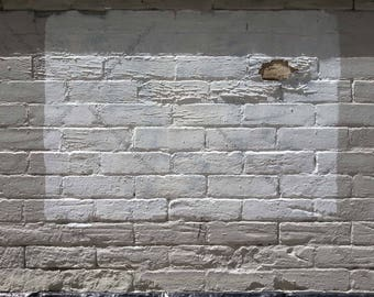 Digital Photo Download of Old Brick Wall with Peeling White and Grey Paint and Cast Shadows, Industrial Urban Grunge Background Stock