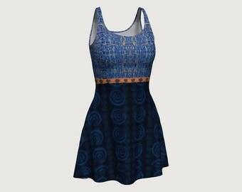 Flare Dress Blue and Orange Busy Mosaic Big Circles Orange Flower Stripe
