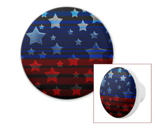 USA Red and Blue Stars and Stripes Pattern White Porcelain Drawer Pull Knobs