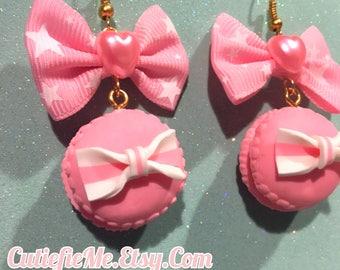 Sweet Lolita Baby Pink Macaron Bow Earrings