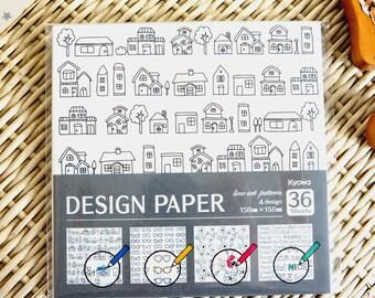 Kawaii Japanese Origami Paper - Line Art Pattern