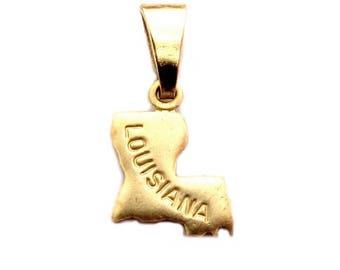 "Louisiana State Necklace.  Raw Brass.  18"" Gold Chain. Tiny."