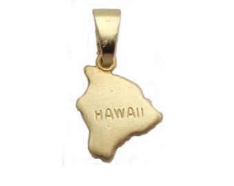 """Hawaii State Necklace.  Raw Brass.  18"""" Gold Chain. Tiny."""
