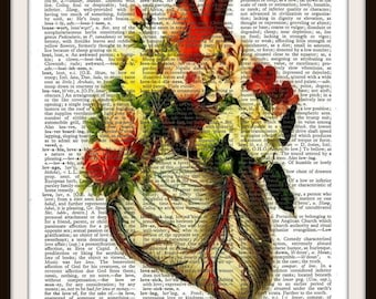 Floral Heart--Human Anatomy--Vintage Dictionary Art Print