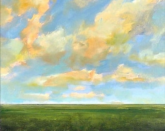 Oil Painting Custom Landscape Modern Abstract Sky Cloud Field by J Shears