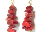 Red coral gemstone chip dangle earrings on brass ear hooks - wire wrapped - red & gold