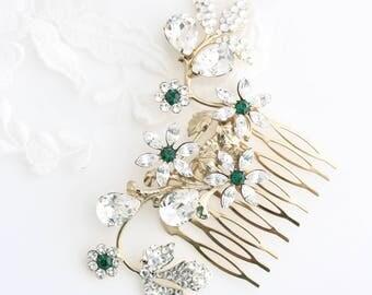 Crystal Flower Hair Comb Emerald Green Swarovski Crystal  Bridal Rhinestone Hair Comb Gold Wedding Hair Accessory  AUBURY