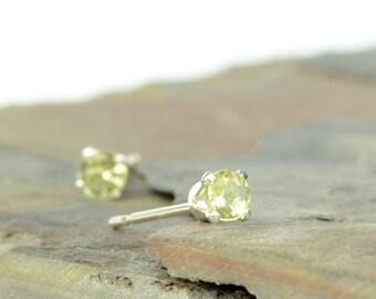 Lemon quartz earrings, sterling silver and lemon quarts studs, 3mm, 4mm, pale yellow gemstone earrings, gift for women, gemstone gifts
