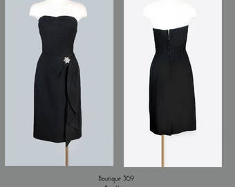 1950's Marilyn Monroe Style Little Black Evening Dress - M/L