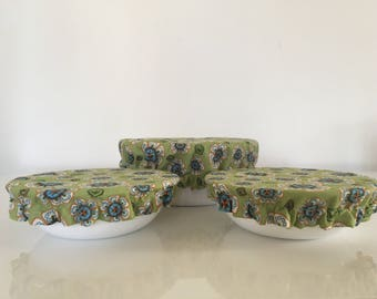 Reusable Food Bowl Container Elastic Picnic Cover Green Flowers Cotton Fabric (3 Piece)
