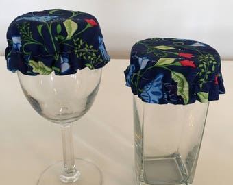 Reusable Wine Cup Glass Cover Blue Red Flowers Fabric