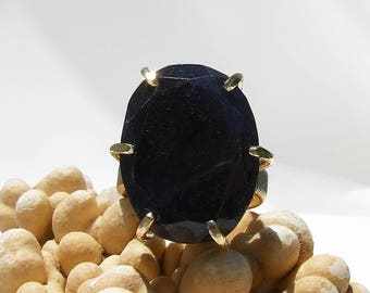 Beryl Ring, Sapphire blue ring, large stone ring, blue stone ring, faceted, prong set