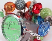 Primarily.. Chunky Red, Orange, Blue, and Green Interchangeable Beaded Watch Band