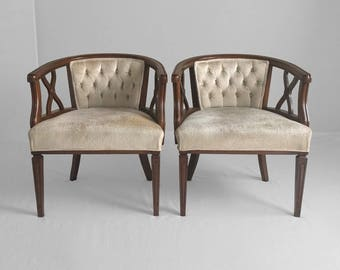 2 HOLLYWOOD REGENCY lattice arm accent chairs