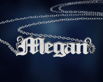 Nameplate Necklace, Personalized Name Necklace, Customized Necklace, Silver Name Necklace, Name Pendant Necklace, Name Plate Necklace, Gifts