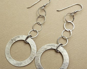 Modernist Sterling 925 Dangle Disc Earrings
