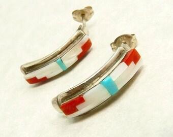 Native American Earrings Half Hoop Sterling 925 Inlay