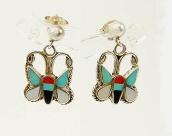 Southwestern Sterling Butterfly Earrings Multi Stone Inlay Signed