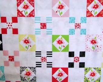 Cotton Fabric,  1 Yard Quilty Patchwork Look Cotton  Fabric, Quilts, Sewing, Small Squares w Mod Flowers in Crayon Colors on White