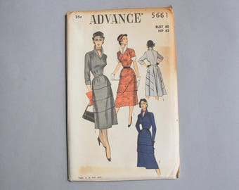 1950s Advance Pattern / 50s Dress Pattern / Uncut FF Sewing Pattern Flared Skirt 40 bust 34 waist large xl 5661