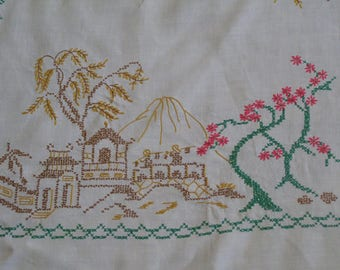 Vintage Embroidered Tablecloth ~ Embroidery Village