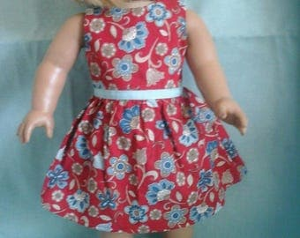 Red and Blue Floral Dress / Doll Clothes fits American Girl doll or other 18 inch doll