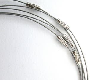 Jewellery sale, silver coloured cable wire necklace, memory wire necklace, screw clasp choker, add a pendant, add on,