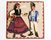 Vintage Hand Painted Folk Art Wood Figures, Traditional Costumes Of Romania, Wall Art