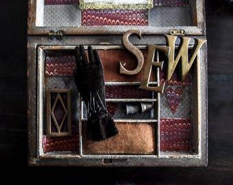 Vintage Brass Letters, Word SEW, Craft Supplies, Art Supplies, Home Decor