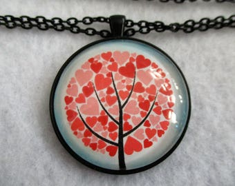 Charming Heart Filled TREE of LIFE Cabochon PENDANT Necklace
